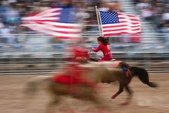 Amerikaanse vlag op horseback Royalty-vrije Stock Fotografie
