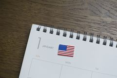 Amerikaanse Vlag op Januari van de Kalender stock foto