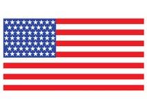 Amerikaanse Vlag op witte achtergrond Stock Foto's