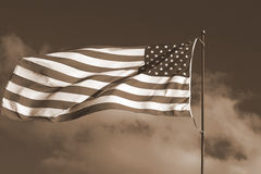 Amerikaanse Vlag - Sepia Toon Royalty-vrije Stock Afbeeldingen