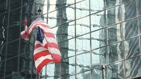 Amerikaanse Vlag Wolkenkrabbers van New York stock videobeelden