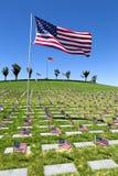 Amerikaanse Vlaggen bij Nationale Begraafplaats Royalty-vrije Stock Afbeelding