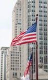 Amerikaanse Vlaggen in Chicago Stock Foto