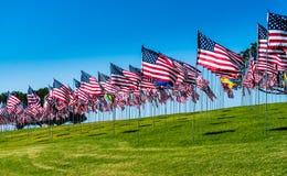 Amerikaanse vlaggen in de wind royalty-vrije stock afbeeldingen