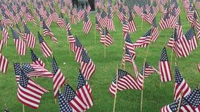 Amerikaanse vlaggen die op een gebied golven stock footage