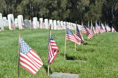 Amerikaanse Vlaggen in Gravesite op Memorial Day stock foto's