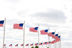 Amerikaanse vlaggen rond het Monument van Washington stock afbeeldingen