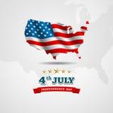 Amerikaanse Vlagkaart voor Onafhankelijkheidsdag Stock Afbeelding