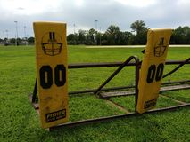 Amerikaanse Voetbal, Opleiding, Blokkerende Slee, Team Practice Royalty-vrije Stock Fotografie
