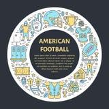 Amerikaanse voetbalbanner met lijnpictogram van bal, gebied, speler, fluitje, helm en ander sportmateriaal Vectorcirkel vector illustratie