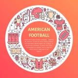 Amerikaanse voetbalbanner met lijnpictogrammen van bal, gebied, speler, fluitje, helm en ander sportmateriaal Vector Royalty-vrije Stock Foto