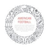 Amerikaanse voetbalbanner met lijnpictogrammen van bal, gebied, speler, fluitje, helm en ander sportmateriaal Vector Royalty-vrije Stock Afbeelding