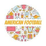 Amerikaanse voetbalbanner met lijnpictogrammen van bal, gebied, speler, fluitje, helm en ander sportmateriaal Vector Stock Afbeeldingen
