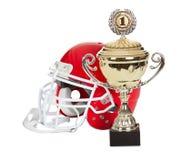 Amerikaanse voetbalhelm en trofee Royalty-vrije Stock Foto