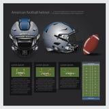 Amerikaanse voetbalhelm met teamplan Royalty-vrije Stock Fotografie