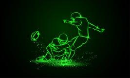 Amerikaanse voetbalkicker raakt de bal De groene Vectorillustratie van Neonsporten Stock Foto's