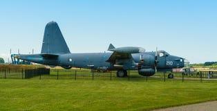 Amerikan B-25 Mitchell Airplane som för bombplan för världskrig två visas på det Aviodrome flygplanmuseet Arkivbild
