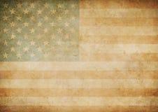 Amerikan eller gammal pappers- flaggabakgrund för USA Fotografering för Bildbyråer