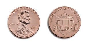 Amerikan en cent, USA 1 c, bronsmyntisolat på den vita backgroen Arkivfoton