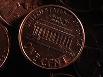 Amerikan en centbakgrund fotografering för bildbyråer