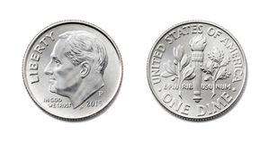 Amerikan en tiocentare, USA tio cent, mynt för 10 c isolat för båda sidor på Arkivfoto
