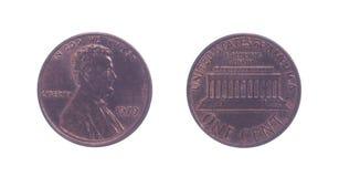 Amerikan ett centmynt Arkivfoto