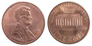Amerikan ett centmynt Royaltyfri Foto