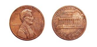 Amerikan ett centmynt som isoleras på vit bakgrund Arkivfoto