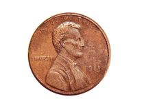 Amerikan ett centmynt som isoleras på vit bakgrund arkivbilder