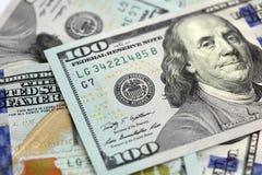 Amerikan hundra dollaranmärkningar Arkivbild