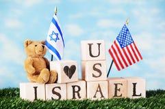 Amerikan-Israel kamratskap Arkivbilder