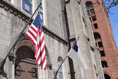 Amerikan- & kristenflaggor Arkivbild