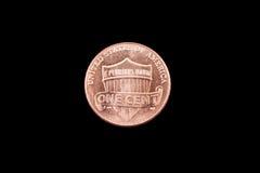 Amerikan Lincoln Penny Coin On en svart bakgrund Fotografering för Bildbyråer