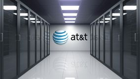 Amerikan Ringa och den Telegrafera Företag AT&T logoen på väggen av serveren hyr rum Redaktörs- animering 3D lager videofilmer