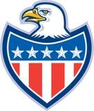 Amerikan skalliga Eagle Flag Shield Retro Arkivbild