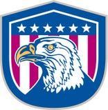 Amerikan skalliga Eagle Head Side Stars Retro Arkivbild