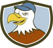 Amerikan skalliga Eagle Head Smiling Shield Cartoon Royaltyfri Bild
