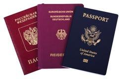 Trefaldig Nationality - amerikan, tysk & ryss royaltyfri bild