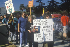 Amerikanen die oorlog in het Midden-Oosten protesteren stock foto