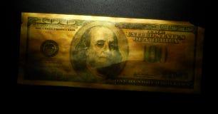 Amerikan 100 dollar Arkivbild