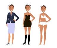 Amerikanen modellerar flickor stock illustrationer