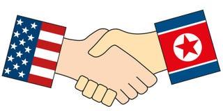 Amerikanen och den isolerade nordkoreanska handskakningen symboliserar att Nordkorea ledareKim Jong-FN har inbjuden president av  royaltyfri illustrationer