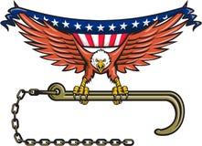 Amerikaner-Eagle Clutching Towing-J-Haken USA-Flagge Retro- Stockfoto