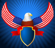 Amerikaner Eagle Flag Wing Shield Ribbon Stockfotografie