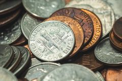 Amerikaner-Penny Money-Hintergrund stockfoto