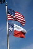 Amerikaner und Texas-Markierungsfahnen Stockbild