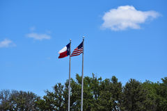 Amerikaner und Texas-Markierungsfahnen stockfotos
