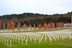Amerikanhjältekyrkogård i Tuscany, Italien Arkivfoton