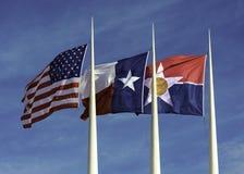 Amerikanisch, Texas und Stadt von Dallas Flags stockbild