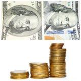 Amerikanische Banknoten von hundert Dollar und von Goldmünzen in den Stapel lokalisiert auf Weiß Lizenzfreies Stockfoto